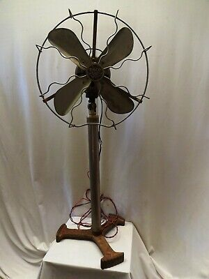 Antique Pedestal Electric Floor Fan Art Deco Style Cast Iron Brass Emco Austria*