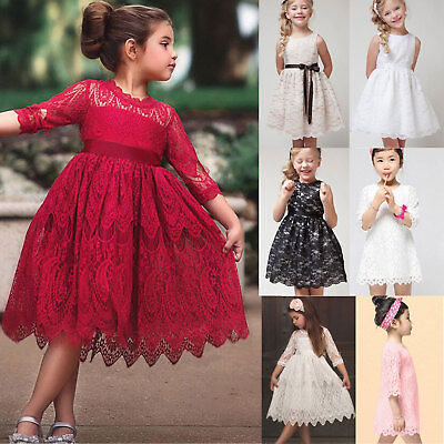 Baby Girls Kids Lace Dress Party Wedding Bridesmaid Princess Dresses Summer