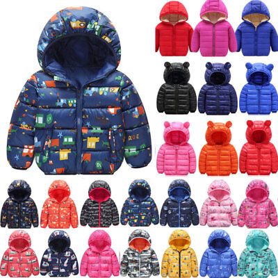 Toddler Baby Boy Girl Winter Warm Cotton-padded Hooded Coat Thick Jacket Outwear