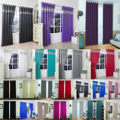 Blackout Thermal Curtains Pair Ready Made Eyelet Ring Home office Door Window