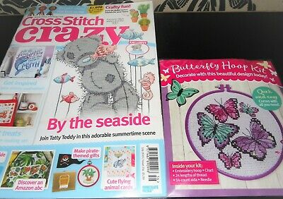 NEW Cross Stitch Crazy Magazine #256 July 2019 + Free Gift Butterfly Hoop Kit