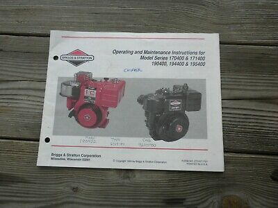 Used Briggs & Stratton Engine Operating Maintenance Instruction Booklet