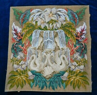 Antique Victorian Bead Work And Tapestry Panel With Swans / Waterfall / Flowers