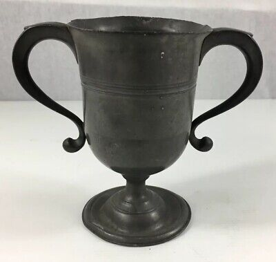 Antique Pewter Loving Cup With Two Handles 16.5cm In Height