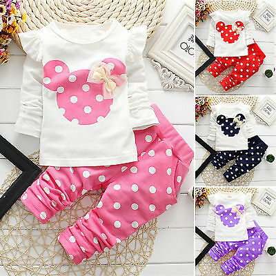 2pcs Kids Girl Baby Outfit Set Polkadot Top + Pants Winter Casual Clothes Casual