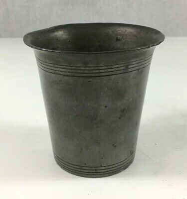 Unusual Antique Pewter Beaker Cup With Banded Decoration 8.5cm In Height