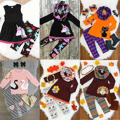 USA Unicorn Kids Baby Girl Outfits Clothes T-shirt Tops Dress+Pants Leggings Set