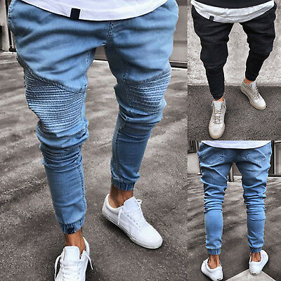 Mens Skinny Work Joggers Denim Stylish Slim Fit Jeans Casual Long Pants Trousers