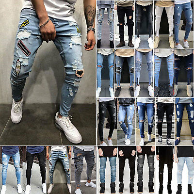 Men Stretchy Ripped Jeans Skinny Biker Destroyed Fit Trousers Denim Frayed Pants