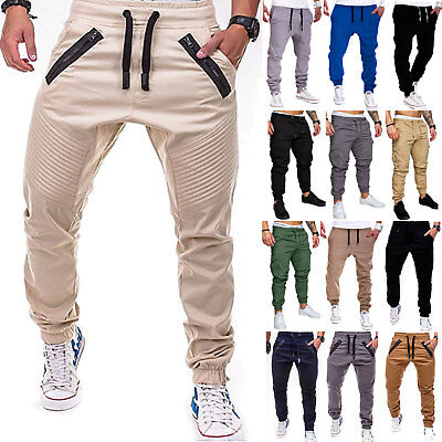 Mens Joggers Trousers Bottoms Pencil Tracksuit Skinny Cargo Track Slim Fit Pants