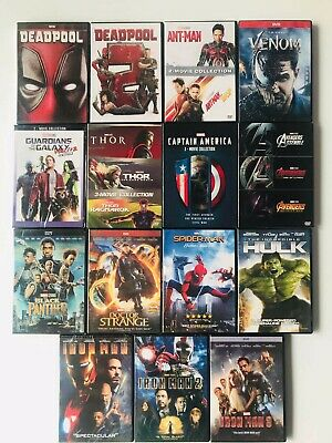 All Marvel DVD Lot Movie Avengers Collection Hulk Ant-man and the Wasp Thor 123