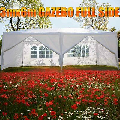 Large Gazebo Marquee Party Tent Outdoor Garden Patio Canopy White Full Side Wall