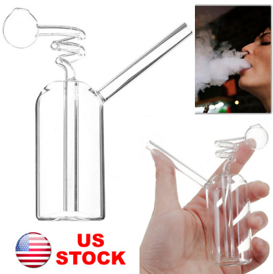 "4"" Glass Bong Hookah Water Pipe Bottle Clear Shisha Smoking Herb Tobacco"