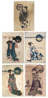 Original Kunichika Japanese Woodblock Print Ukiyo-E Artist's First Work