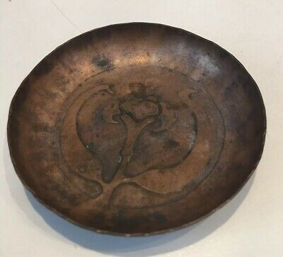 """Arts & Crafts Hmmered Embossed Copper Pin Tray - Roycroft Era 3"""""""