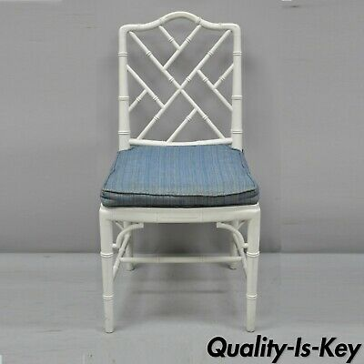 Vintage White Chinese Chippendale Hollywood Regency Faux Bamboo Cane Side Chair