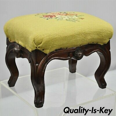 Antique Victorian Carved Walnut Figural Lion Female Face Small Footstool Ottoman