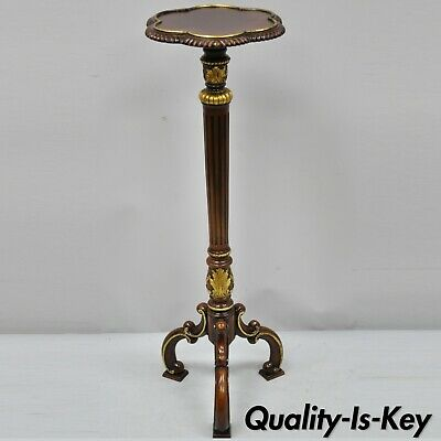 Ardley Hall Mahogany French Baroque Style Carved Wood Pedestal Plant Stand Table
