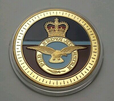 2018 Royal Air Force Centenary Badge RAF Gold Plated Medal Coin & COA - Mint #2
