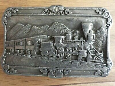 Vintage Train Belt Buckle 1984 SISKIYOU Pewter Railroad Locomotive History