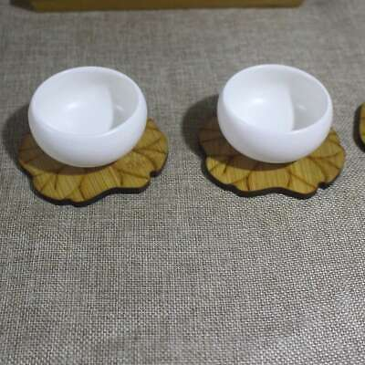 6pcs Cute Coasters Bamboo Cup Pads Drink Coffee Teacup Mat for Home Cafe Kitchen