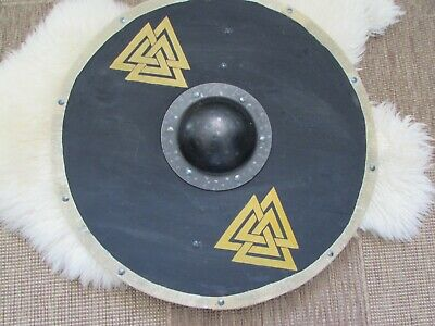 Black with yellow Valknut Viking shield
