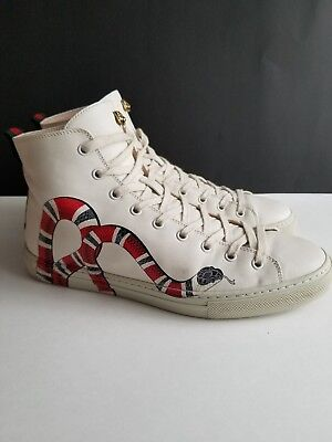 a9b2d116b991 GUCCI 'Major' Snake Print HighTop Sneakers White Leather Shoes Sz 7