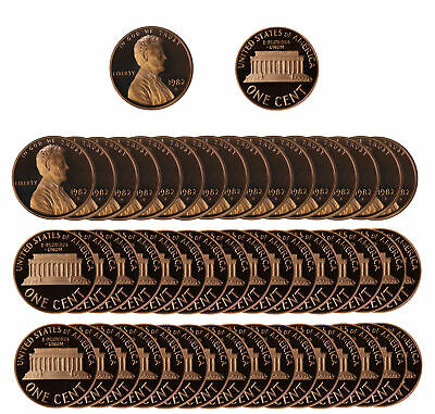 1982 Gem Proof Lincoln Cent Roll - 50 US Coins