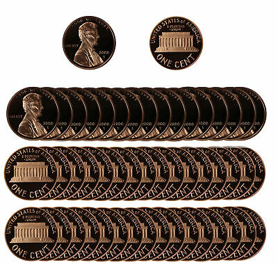 2000 Gem Proof Lincoln Cent Roll - 50 US Coins