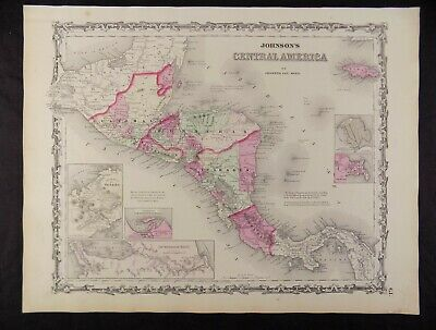 1863 CIVIL WAR MAP OF CENTRAL AMERICA JOHNSON'S  ATLAS, w/ C.O.A.ORIG. ANTIQUE