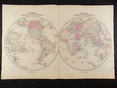 1863 MAP OF THE WEST/EAST HEMISPHERES  JOHNSON'S  ATLAS, w/ C.O.A. ORIG.ANTIQUE