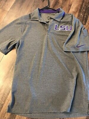 1585db52 men's LSU TIGERS polo golf shirt S Nike Dri Fit Louisiana State University  NCAA
