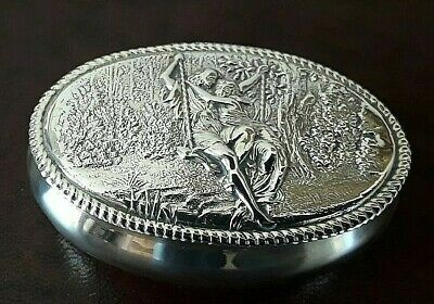 Superb Fine Antique Solid Silver Box Lovers on a Swing 51grams Birmingham 1899