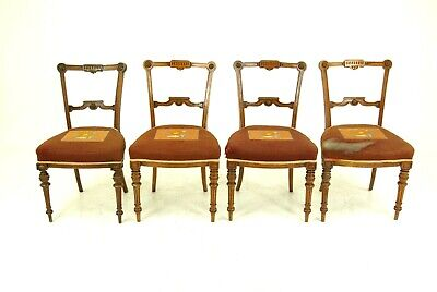 Antique Dining Chairs, Walnut, Embroidered Seats, Scotland 1880, B1515