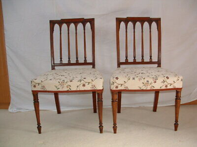 Georgian , pair of Geo.3rd. mahogany dinning chairs restored  re- upholsted