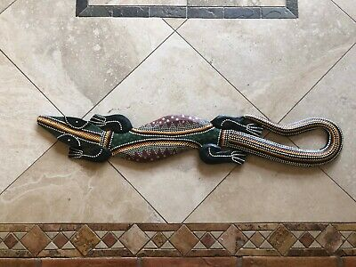 Painted Wooden Lizard Wall Art