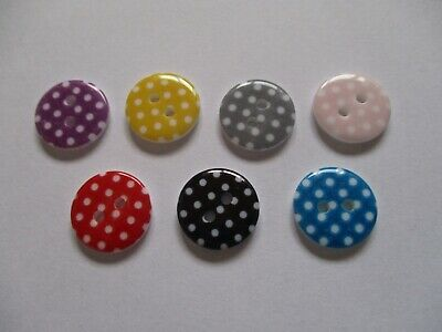 10 Polka Dot Buttons in Various Colours (15mm Wide)