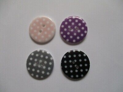 6 Polka Dot Buttons in Various Colours (23mm Wide)