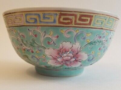 Antique Qianlong Chinese Famille Rose Turquoise Ground Rice Bowl Qing Dynasty