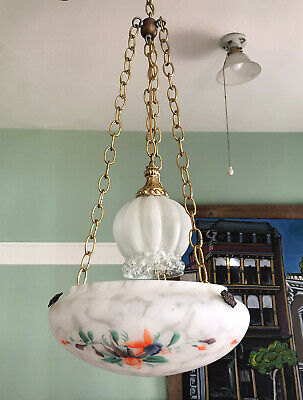 Vintage Art Deco Hanging Painted Ceiling Light / Shade / Flycatcher / Bowl