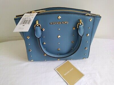 aafc953e389e Michael Kors Ellis Satchel Purse #35H7GEOS5L -Sky Blue Leather -Brand New w/
