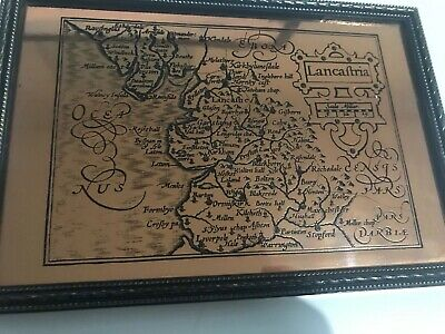 Etchmaster Original Copper Lancashire Scotland Pair Framed Vintage Etchings Map