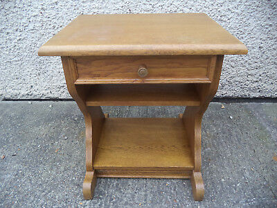 Solid Oak Bedside Occasional Table Telephone Gothic Style Shabby Chic Retro