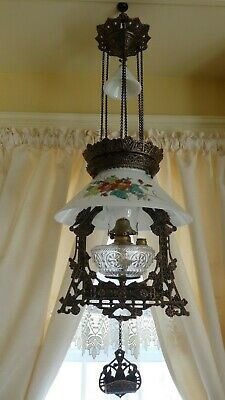 Antique (1870s) Iron Horse Hanging Lamp/ Nice Frame & Shade