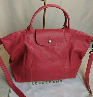 NEW! LONGCHAMP LE Pliage Cuir MED Leather Tote Handbag