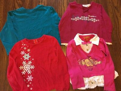 Lot Of 4 Toddler Girl Long Sleeve Shirts Size 4T