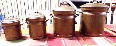 Arts and Crafts Solid Copper 4 Piece Lidded Canister Set- washed on the inside++