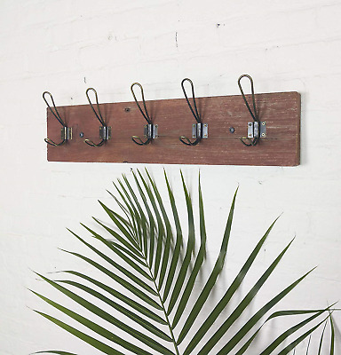 Vintage Rustic Wall Mounted Coat Rack –Authentic Barn Wood Hanger for Towels, -