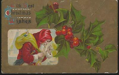 Lot Two Vintage Christmas Postcards with Santa Claus Walking with and His Sack