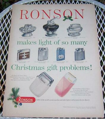 Lot of Two Vintage Christmas Ronson Lighters and Electric Razors Advertisement